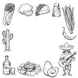 Travel to Mexico Food Culture Drink Cuisine Hand draw vector icons Stock Image