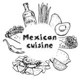 Travel to Mexico Food Culture Drink Cuisine Hand draw vector icons Royalty Free Stock Photos