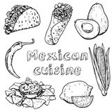 Travel to Mexico Food Culture Drink Cuisine Hand draw vector icons Stock Images