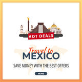 Travel to Mexico. Travel Template Banners for Social Media. Hot Deals. Best Offers Royalty Free Stock Photos