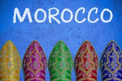 Travel to Morocco , post card template. Or header mock up Royalty Free Stock Photos