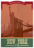 Travel to New York Poster.Vintage  advertisement Royalty Free Stock Images