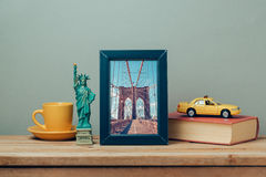 Travel to New York, USA concept with poster mock up template and souvenirs stock photo