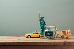 Travel to New York, USA concept with Statue of Liberty souvenir. Planning summer vacation, royalty free stock photography
