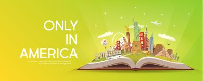 Travel to America. Open book with landmarks. Royalty Free Stock Images