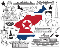 Travel to North Korea if you can doodle drawing icon Stock Photography