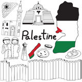 Travel to Palestine doodle drawing icon with friendly Israel tourism concept in isolated background Stock Image