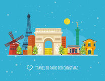 Travel to Paris for christmas. Greeting card Stock Photo