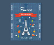 Travel to Paris for christmas. Greeting card Stock Photography
