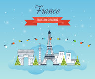 Travel to Paris for christmas. Greeting card Royalty Free Stock Images