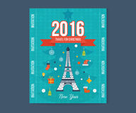 Travel to Paris for christmas. Greeting card. Travel to Paris for christmas. Cute invitation card with winter city life and space for text. Merry Christmas Stock Image