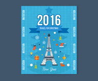 Travel to Paris for christmas. Greeting card. Travel to Paris for christmas. Cute invitation card with winter city life and space for text. Merry Christmas Royalty Free Stock Photography