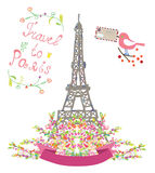 Travel to Paris cute poster with flowers and bird Stock Photo
