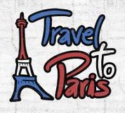 Travel to Paris message. Creative design of travel to Paris message Stock Photo