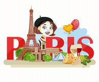 Travel to Paris. Sightseeing of Paris and France. Romantic tourist card in vintage style. Stock Photography