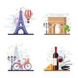 Travel to Paris vector flat illustration. City symbols, landmarks and food. France icons and design elements.  Royalty Free Stock Photography