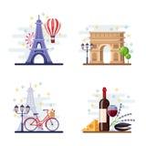 Travel to Paris vector flat illustration. City symbols, landmarks and food. France icons and design elements.  royalty free illustration