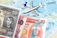 Travel to Philippines and  peso. Travel to Philippines concept- with  map of the Philippines and peso currency Royalty Free Stock Image