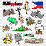 Travel to Philippines. Stickers, Badges and Patches with Philippines Architecture, Animals and Nature. Vector illustration vector illustration