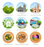 Travel to Philippines. Set of traditional cultural symbols, cuisine, architecture. Collection of colorful vector illustrations for the guidebook. Peoples in vector illustration