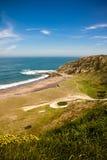 Travel to picturesque atlantic azkorri beach, spain Royalty Free Stock Photo