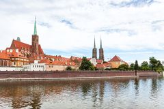Cathedrals in Ostrow Tumski district in Wroclaw Stock Photos