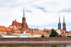 Churches of Ostrow Tumski district in Wroclaw city Stock Image