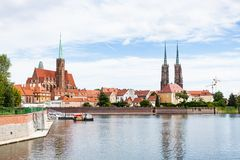 View of Cathedrals and Ostrow Tumski in Wroclaw Stock Photo