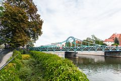 Tumski Bridge over Oder river in Wroclaw city Royalty Free Stock Photos