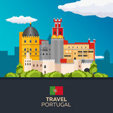 Travel to Portugal skyline. Vector flat illustration. Royalty Free Stock Images