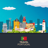 Travel to Portugal skyline. Vector flat illustration. Stock Photography