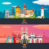 Travel to Portugal and Spain skyline. Vector flat illustration. Royalty Free Stock Photography
