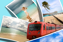 Travel to rest of your dream. On azure background Stock Image