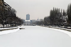 Travel to Romania: Frozen river, Bucharest center  Stock Image