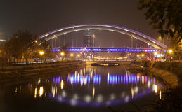 Travel To Romania: Grozavesti Night River Bridge Stock Image