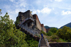 Travel to Romania: Ruins of Poienari fortress Stock Photo
