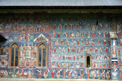 Travel to Romania: Sucevita church mural paintings. One of Romania's most beautiful places the Sucevita monastery is  also a featuring in the UNESCO world Royalty Free Stock Photos