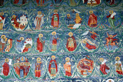 Travel Romania: Sucevita church mural paintings ic. One of Romanias most beautiful places the Sucevita monastery is  also a featuring in the UNESCO world Stock Photos