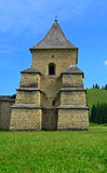 Travel to Romania: Tower of Sucevita Monastery. The west tower and walls of the stronghold surrounding the Holy Monastery of Sucevita, in Bucovina, a part of Royalty Free Stock Photo