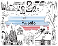 Travel to Russia doodle drawing icon with culture, costume, land. Mark and cuisine tourism concept in isolated background, create by vector Stock Photo