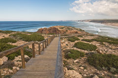 Travel to sandy beach bordeira on atlantic coast in south portugal Stock Photos