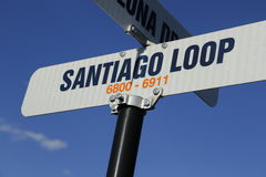 Travel to Santiago! Santiago street sign for Chile! Stock Images