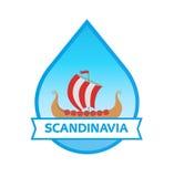 Travel to Scandinavia - Emblem with Drakkar Royalty Free Stock Photo
