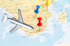 Travel to South Africa. With marking push pin and toy airplane  concept Royalty Free Stock Photo