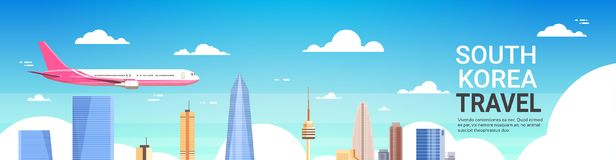 Travel To South Korea Poster Plane Fly Over Seoul City Skyline With Skyscrapers And Landmarks. Flat Vector Illustration royalty free illustration