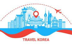Travel To South Korea Silhouette Poster With Famous Korean Landmarks On White Background Travel Destination Concept. Flat Vector Illustration Royalty Free Stock Photos