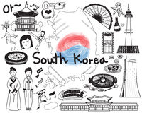 Travel to South Korean doodle drawing icon Royalty Free Stock Image