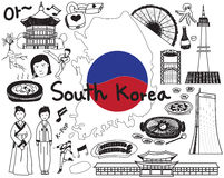Travel to South Korean doodle drawing icon Stock Images