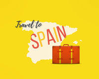 Travel to spain concept. Spanish traveler background. Espana map with traveling suitcase Royalty Free Stock Photos