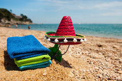 Travel to the Spanish beach. Spanish Sombrero at the summer beach on vacation Stock Photos